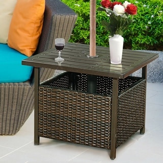 Link to Costway Brown Rattan Wicker Steel Side Table Outdoor Furniture Deck Similar Items in Outdoor Coffee & Side Tables