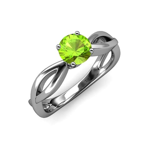TriJewels Peridot Infinity Womens Solitaire Engagement Ring 1 ct Gold
