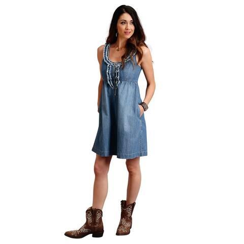 Stetson Western Dress Womens Denim Sleeveless Blue