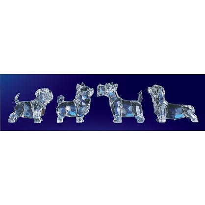 "Club Pack of 16 Icy Crystal Decorative Mixed Dog Set Figurines 3"" - CLEAR"
