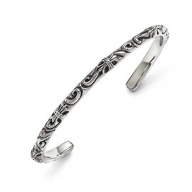 Chisel Stainless Steel Polished/Antiqued Scroll Thin Cuff Bangle