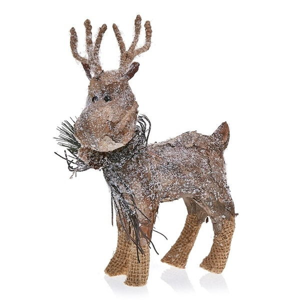 Pack of 2 Country Rustic Prancer the Reindeer Snowy Birch Bark Christmas Table Top Decorations 9.75""
