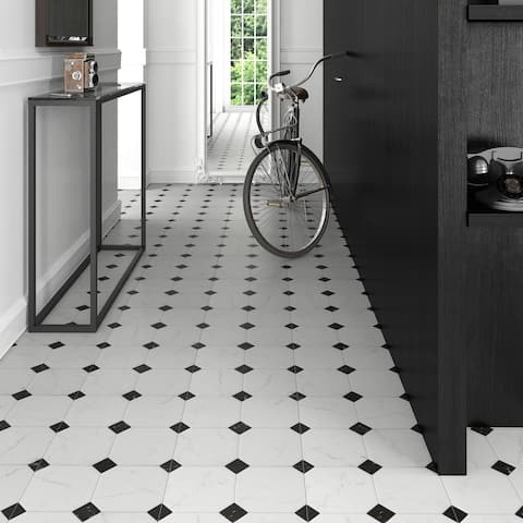 SomerTile 13.125x13.125-inch Comarca Jet Blanco Ceramic Floor and Wall Tile