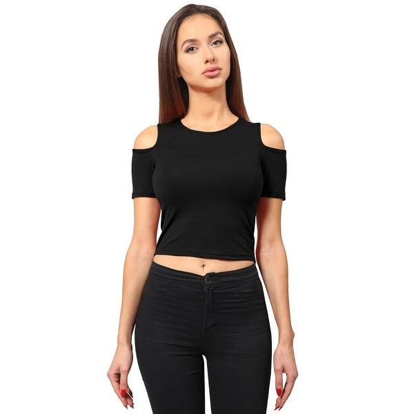 NE PEOPLE Women's Casual Open Shoulder Short Sleeved Crop Top