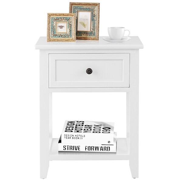 1//2x Wooden Bedside Table Cabinet Bedroom Storage Nightstand Book Shelf Display