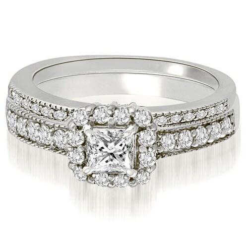 1.09 cttw. 14K White Gold Halo Princess And Round Diamond Bridal Set