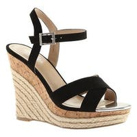 Charles by Charles David Women's Archie Wedge Sandal Black Microsuede