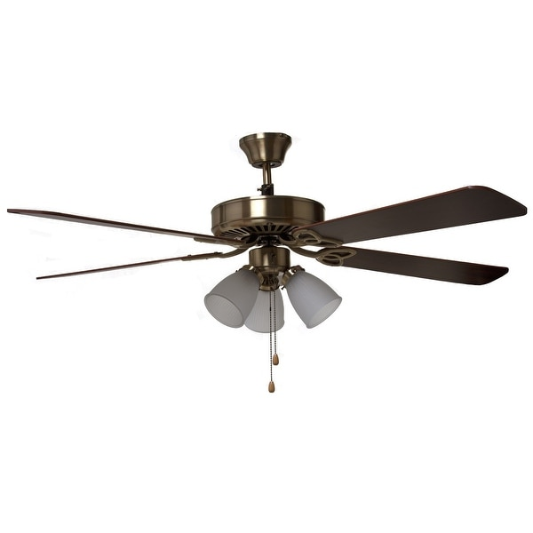 "Boston Harbor CF-78042 Three Light Ceiling Fan, 52"", Antique Brass"