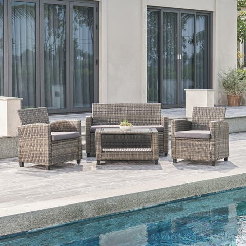 Gabrielle Wicker Mixed Acacia Wood Patio Lounge Sofa Set in Grey with Cushion