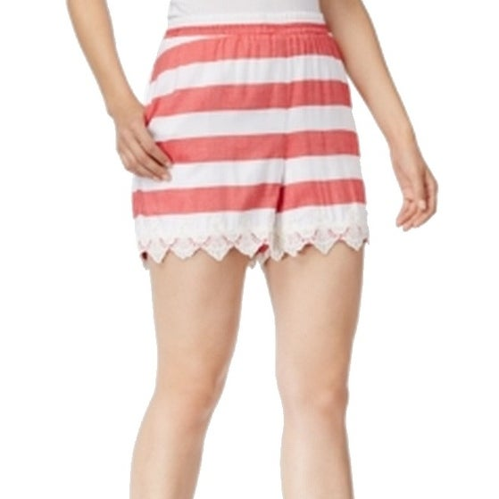 Kensie White Women's Striped Crochet Lace Trim Shorts