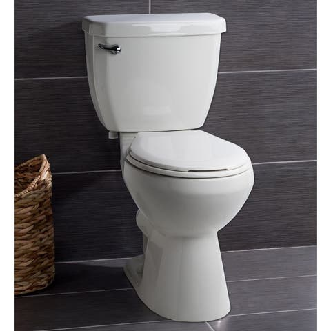 Miseno MNO1500C High Efficiency 1.28 GPF Two-Piece Round Chair Height Toilet with Seat and Wax Ring Included - White