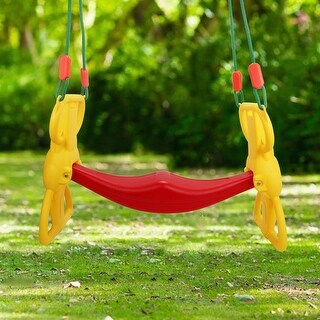 Costway Back to Back Rider Swing For 2 Kids Glider Seat Children Backyard w/ Hangers - as pic