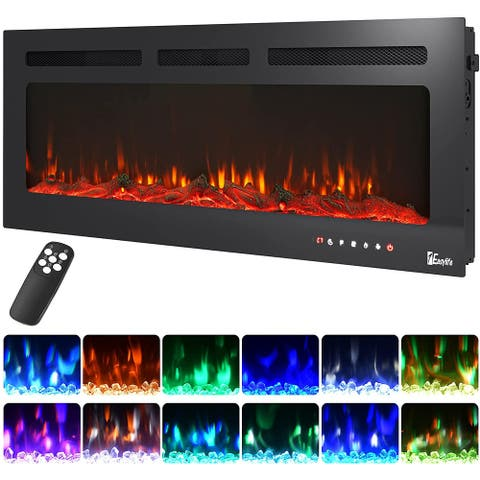 Electric Fireplace- Recessed and Wall Mounted with 12 Flame Colors, Remote Control, 30/40/50 Inches