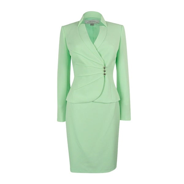 Shop Tahari Asl Women S Crepe Crossover Jacket Skirt Suit