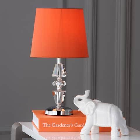 "SAFAVIEH Lighting 15-inch Crescendo Orange Shade Tiered Crystal Table Lamp (Set of 2) - 9""x9""x16"""