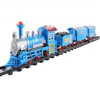 14-Piece Vibrant Blue Battery Operated Lighted & Animated Classic Cartoon Train Set with Sound