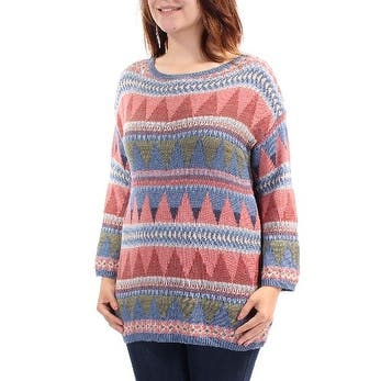 AMERICAN LIVING Womens Blue Tribal Long Sleeve Tunic Sweater Size S