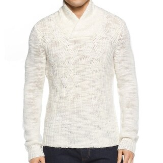 Calvin Klein NEW White Ivory Mens XL Shawl Collar Cable Knit Sweater