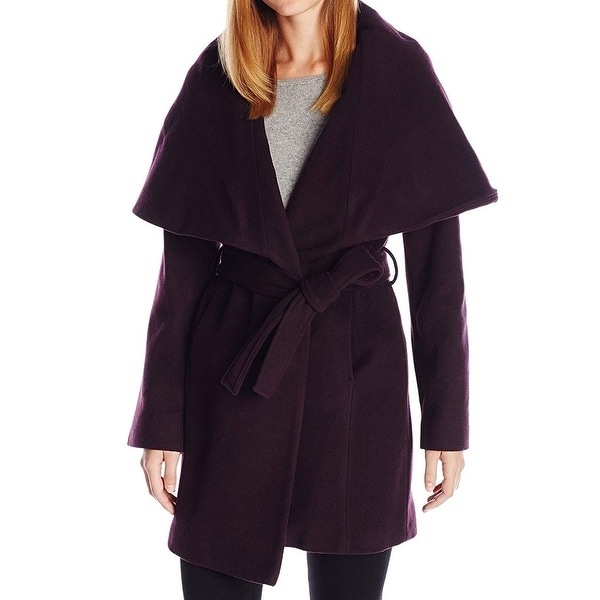 T Tahari Deep Purple Womens Size Medium M Oversize-Collar Coat