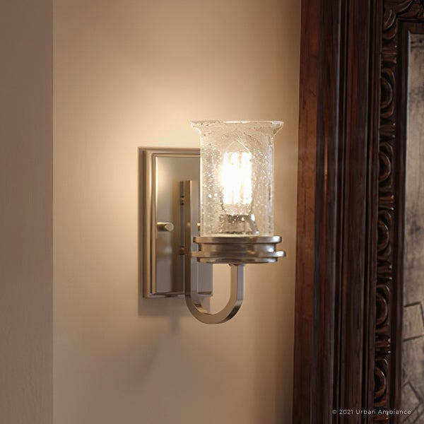 """Luxury French Country Bath Vanity Light, 9.5""""H x 4.75""""W, with English Country Style, Brushed Nickel, UHP3740 by Urban Ambiance. Opens flyout."""