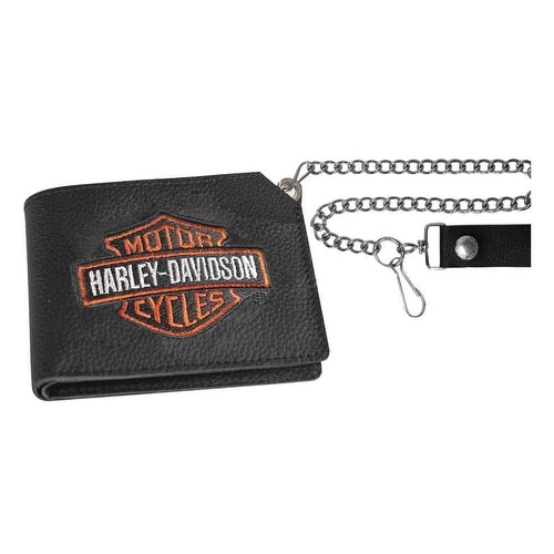 "Harley-Davidson Men's Embroidered B&S Trucker Short Biker Wallet, XML4341-ORGBLK - 4.5"" x 3.5"""