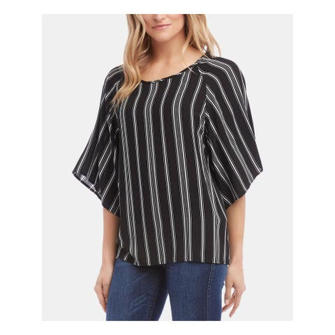KAREN KANE Womens Black Striped Kimono Sleeve Jewel Neck Top Size XS