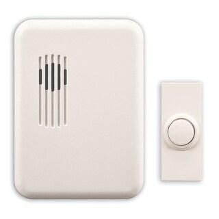 Heath Zenith SL-6151-C Wireless Plug-In Rectangular Doorbell Chime Kit with One Button, White