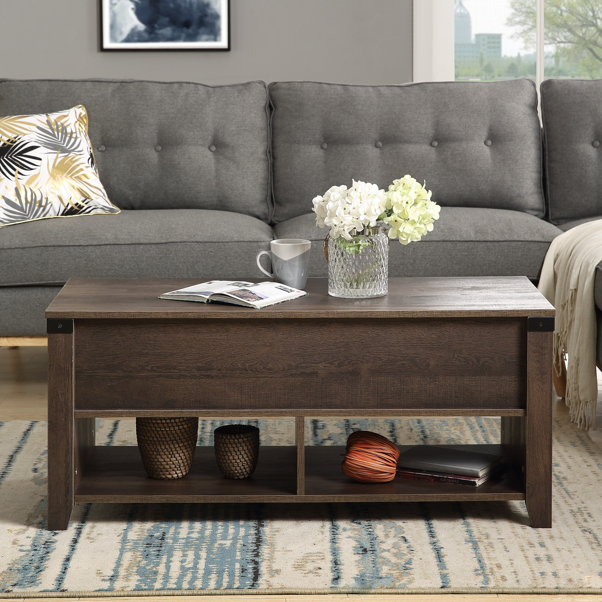 Multipurpose Coffee Table With Drawers Open Shelf And Storage Overstock 31990060