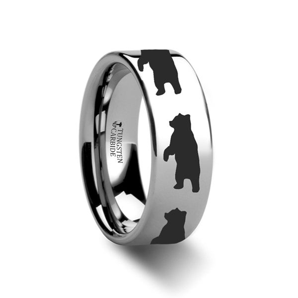 THORSTEN - Animal Standing Bear Ring Engraved Flat Tungsten Ring - 4mm