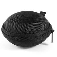 Black Round Zip Up Headset Headphone Earphone Case Pouch Bag Storage Holder