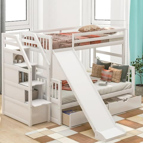 Merax Twin over Full Bunk Bed with Slide, Drawers, Storage Stair for Kids
