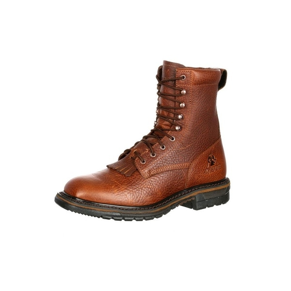 Rocky Western Boots Mens Original Ride Waterproof Lacer Brown