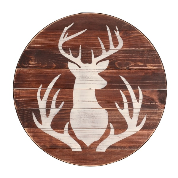 Shop Brandtworks Farmhouse Deer Sign Round Wall Hanging 24