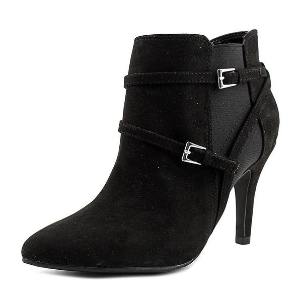 Style & Co Zoeyy Women Pointed Toe Suede Black Bootie, Black, Size 10.0