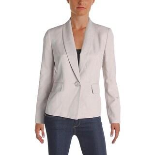 Le Suit Womens Petites Seychelles One-Button Blazer Melange Seamed