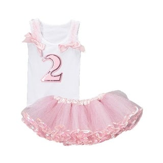 Cinderella Couture Baby Girls Pink Glitter Numbered Top Tutu Set 1-2Y