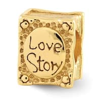 Sterling Silver Reflections Gold-plated Love Story Book Bead (4mm Diameter Hole)