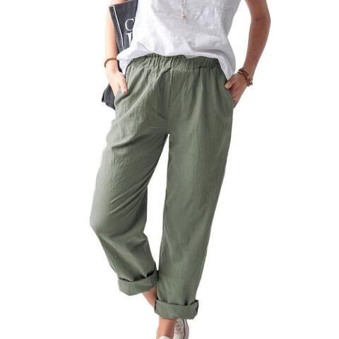 Elastic Waist Loose Soild Color Pant Trouser
