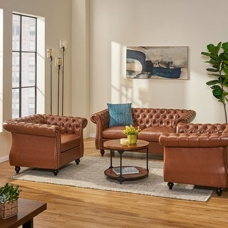 Link to Silverdale Traditional Chesterfield Loveseat and Club Chair Set by Christopher Knight Home Similar Items in Living Room Furniture Sets