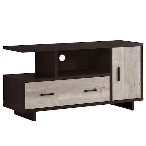"""Offex 48""""L Contemporary Taupe ReclaimedWood -Look TV Stand, Cappuccino - 47.25""""x 15.5""""x 23.75"""""""