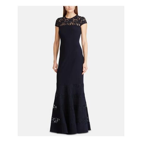 RALPH LAUREN Navy Short Sleeve Full-Length Dress 2