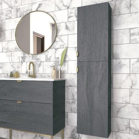 Smug Akron Oak Wood Finish Bathroom Column Cabinet