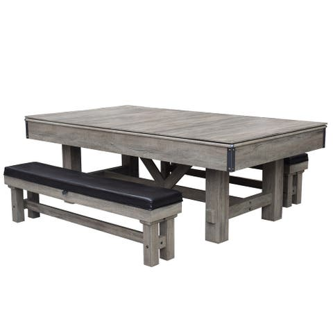 Logan 7-ft 3 in 1 Pool Table with Benches - Rustic Barnwood Finish