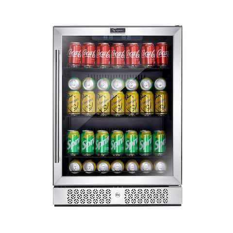 24 in. 140-Can Capacity Built-in and Freestanding Beverage Center Refrigerator in Stainless Steel