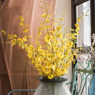 "RusticReach Dancing Lady Orchid Stem in Yellow 43"" Tall"
