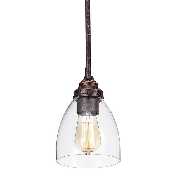Antique Copper 1-Light Bell Shaped Clear Glass Mini Pendant - Antique Copper. Opens flyout.