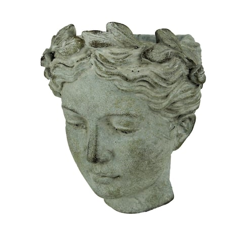 Distressed Cement Classic Greek Lady Head Indoor / Outdoor Wall Mounted Planter - 7.5 X 6.75 X 4.75 inches