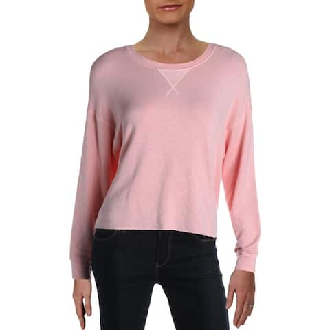 Splendid Womens Marathon Pullover Top Crewneck Crop - Fresh Pink