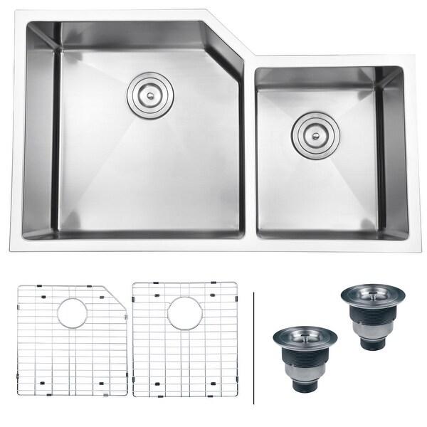 "Ruvati RVH8150 Gravena 33"" Undermount Double Basin 16 Gauge Stainless Steel Kitchen Sink with 2 Basin Racks and 2 Basket"