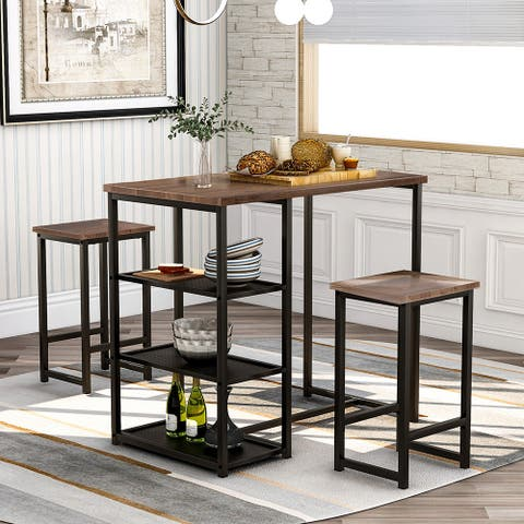 3-piece Dining Set with Natural Wood Countertop and Bar Stools